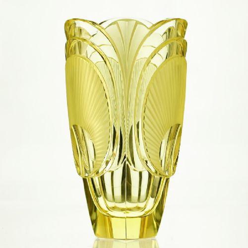 C1920s 30s Citrine Relief Moulded Cut Deco Glass Vase Rudolf