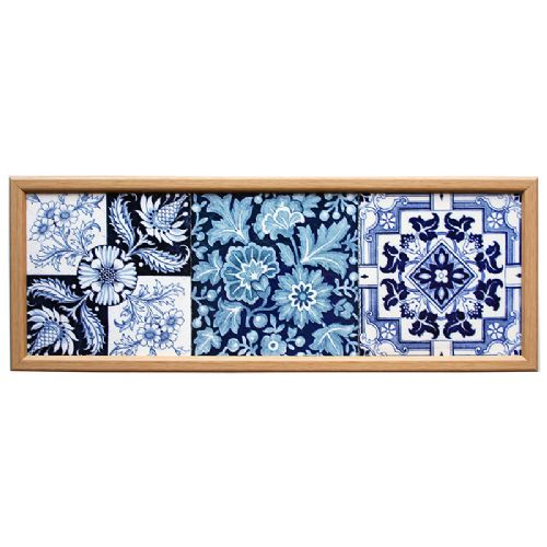 three c1900 english blue white transfer printed tiles framed