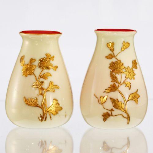 Pair Of C1890 Cream Over Pink Uranium Glass Vases With Floral