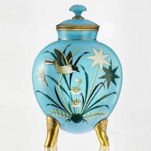 C 1880 Harrach Pale Blue Opaline Glass Vase, Hand Enamelled With