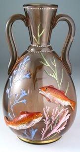 Fine C 1900 Probably Harrach Glass Vase W  Applied Fish | 18156