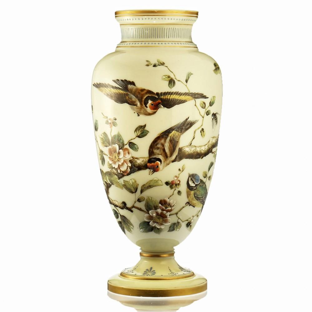 C 1880 Tall Vaseline Uranium Glass Vase With Enamelled Birds Flora Josephinenhutte Arthur Gerlach 586137 Sellingantiques Co Uk