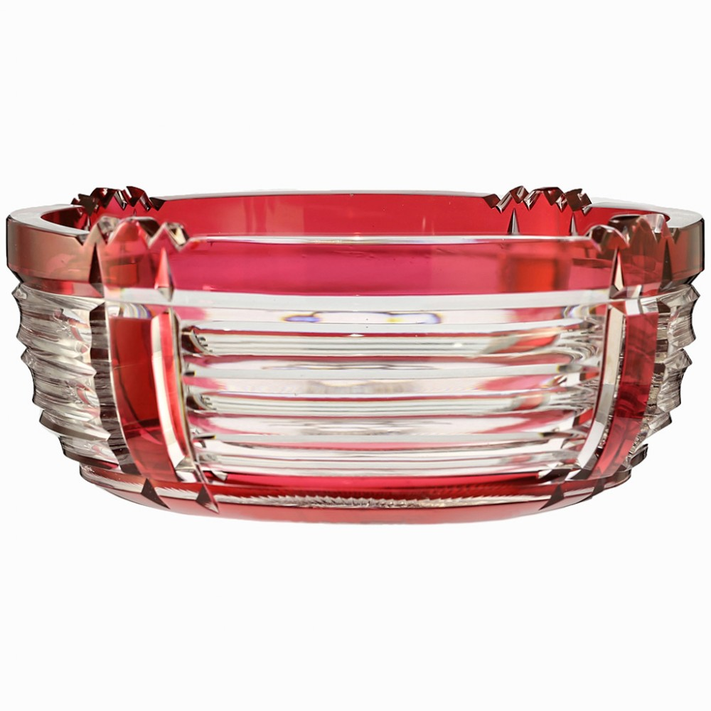 c1930s val st lambert cranberry overlay crystal bowl joseph simon