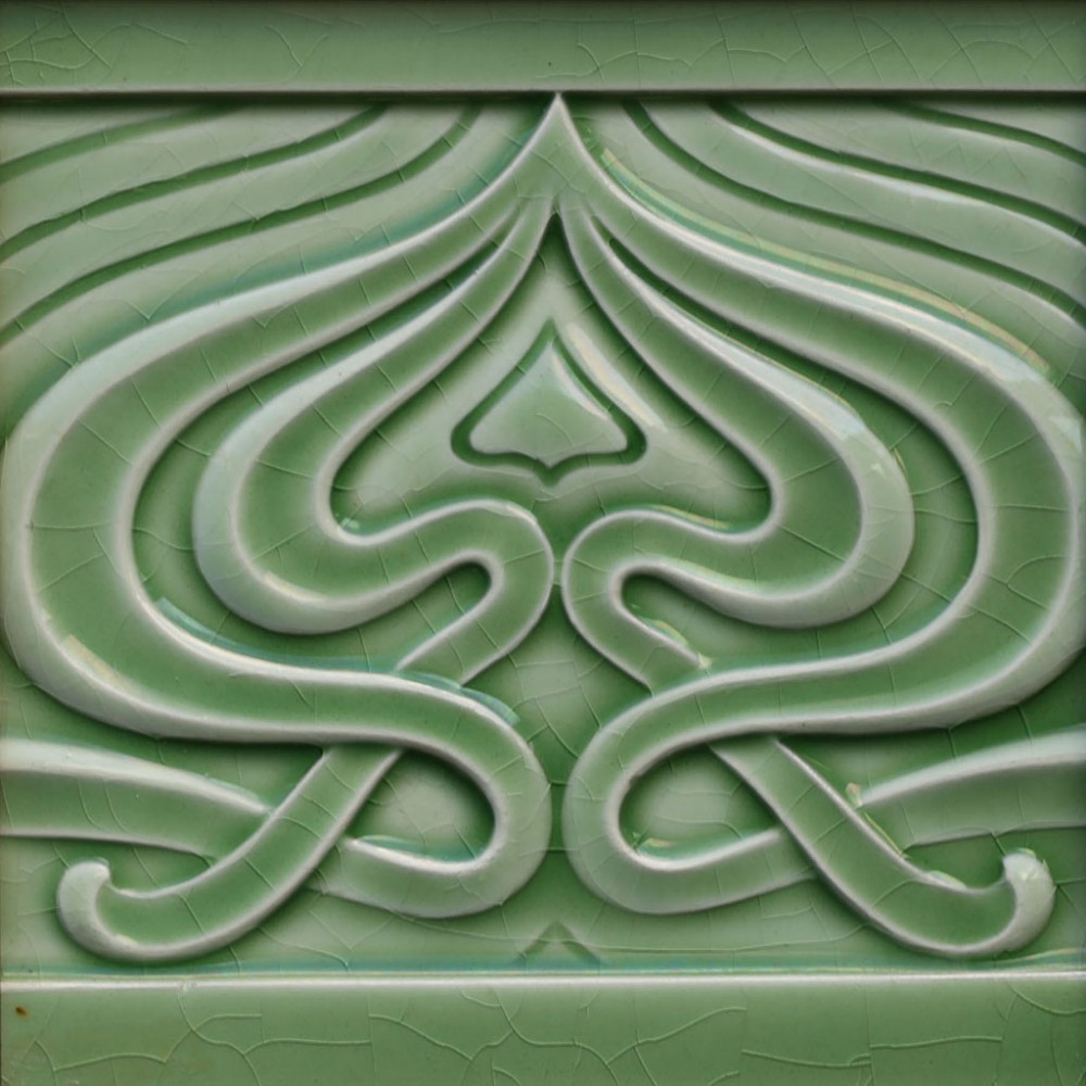 c1905 art nouveau tile by utzschneider sarregemund framed