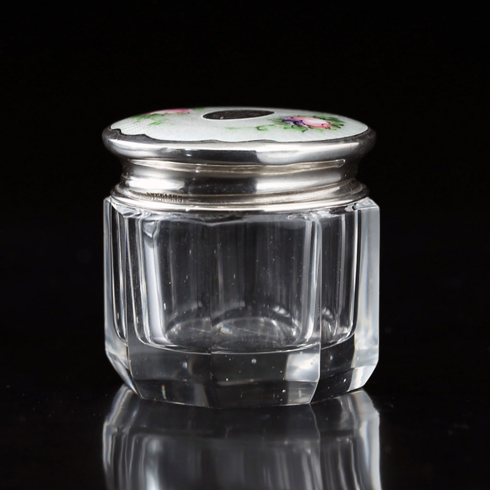 c1930s small crystal dressing table pot box enamelled guilloche sterling lid