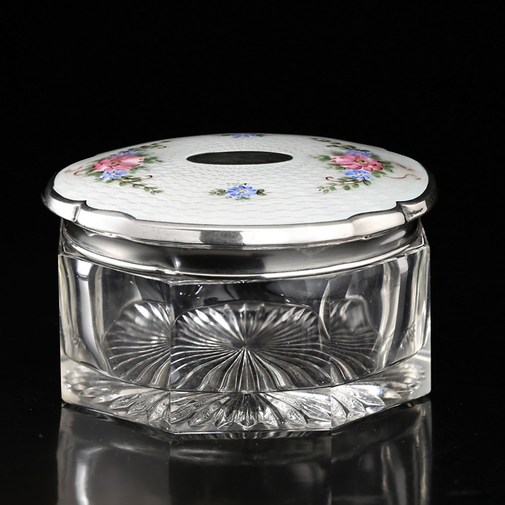 c1930s crystal dressing table pot box enamelled guilloche sterling lid