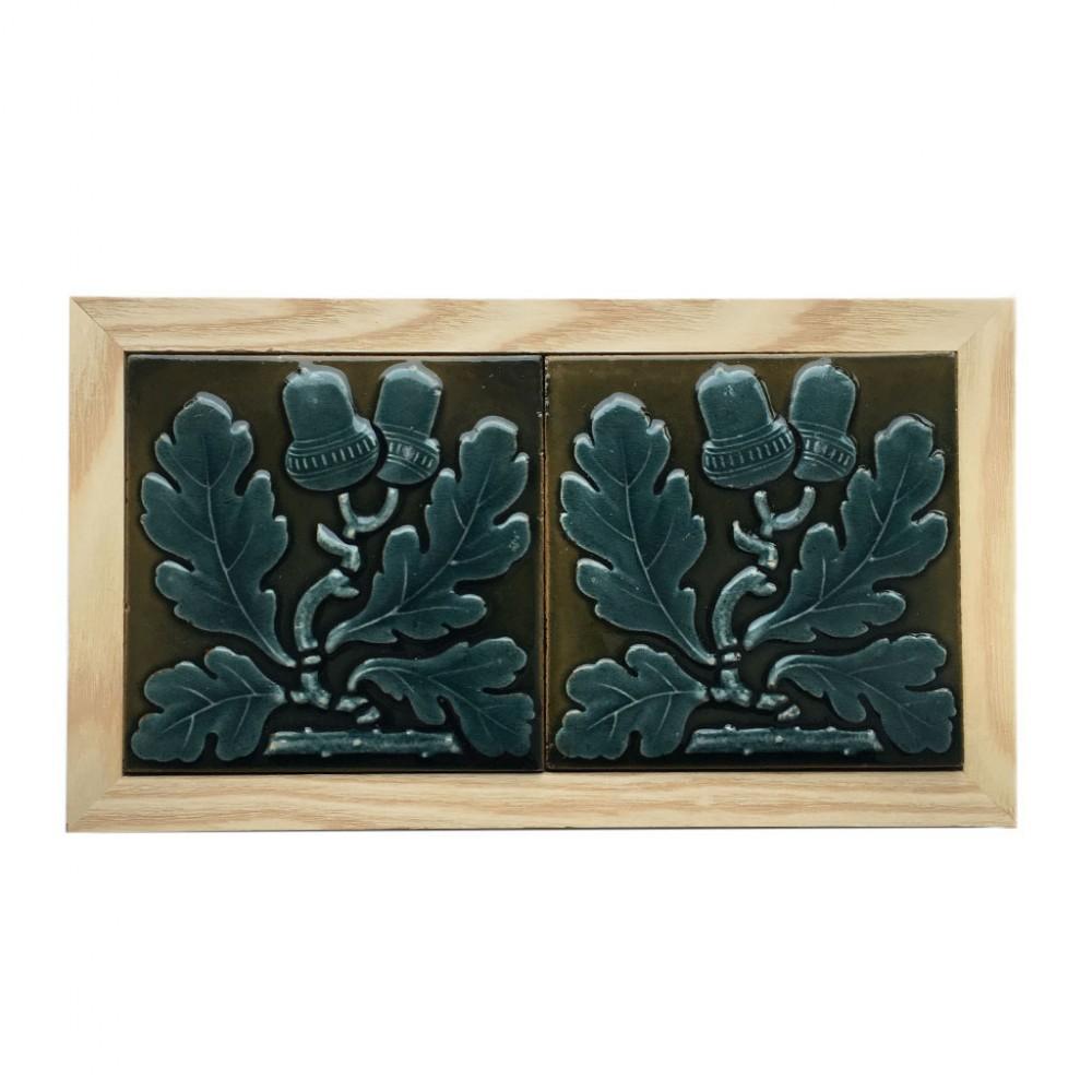 pair of c1870 maw co 3 acorn tiles framed