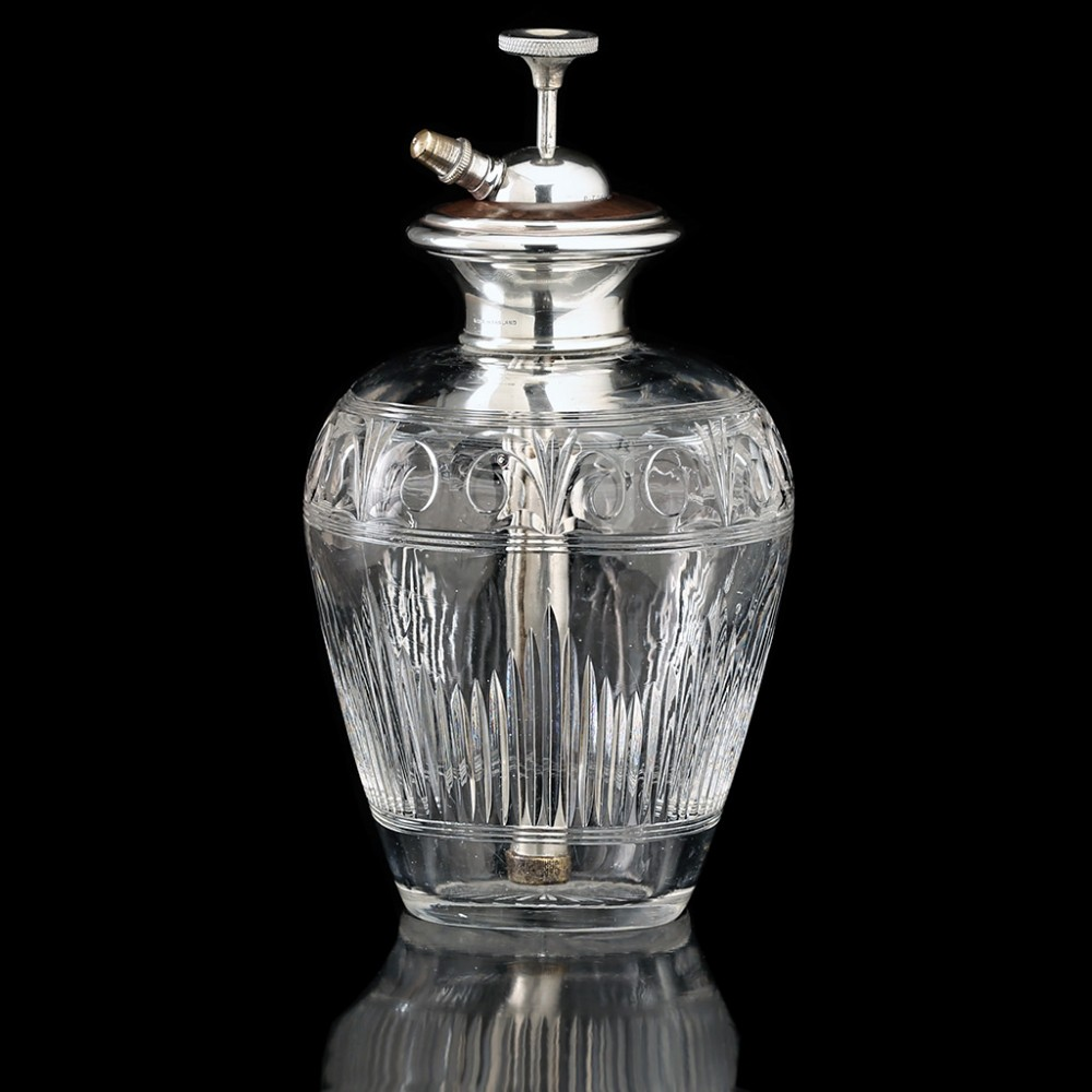 c1920s engraved crystal scent perfume spray atomizer