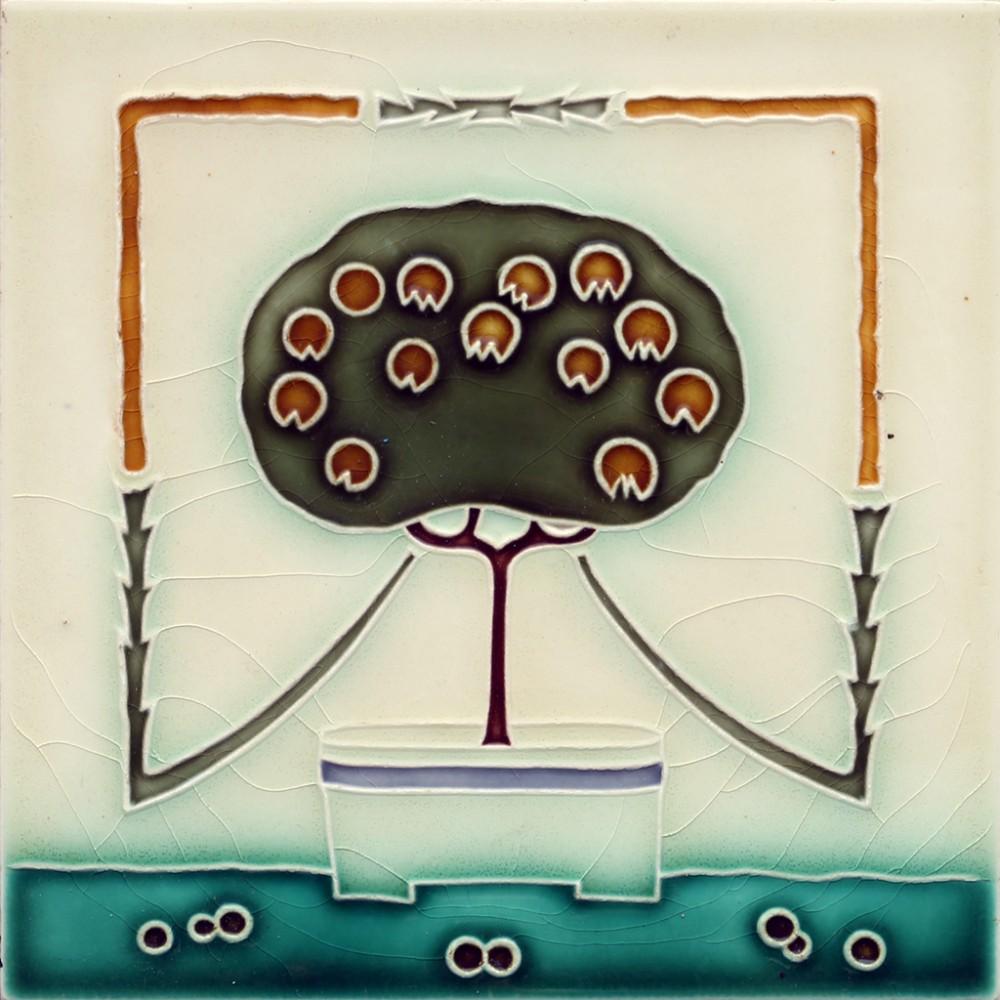 c1910 wessel german art nouveau tree tile