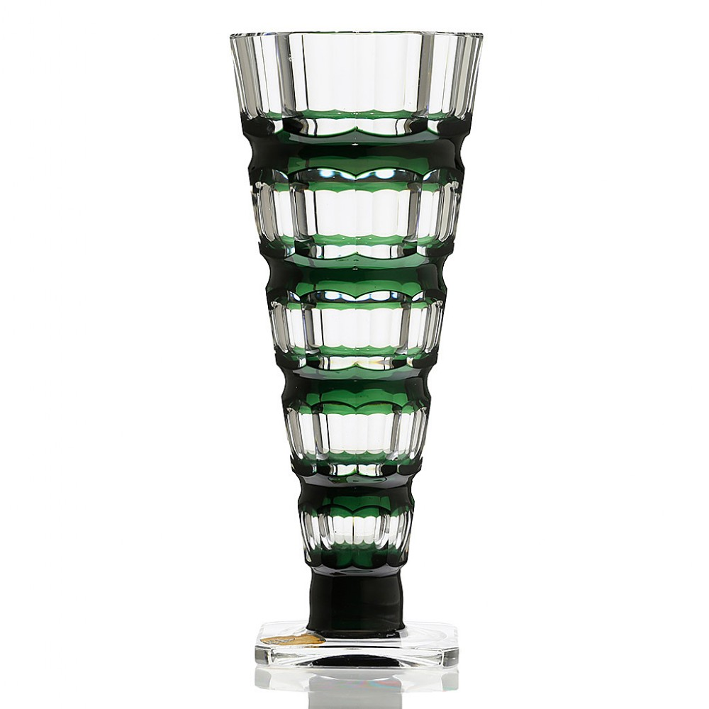 c1950s val st lambert emerald over clear crystal vase joseph simon