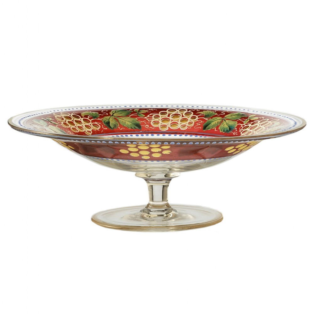 c1910 bohemian gilded optic enamelled footed glass dish tazza