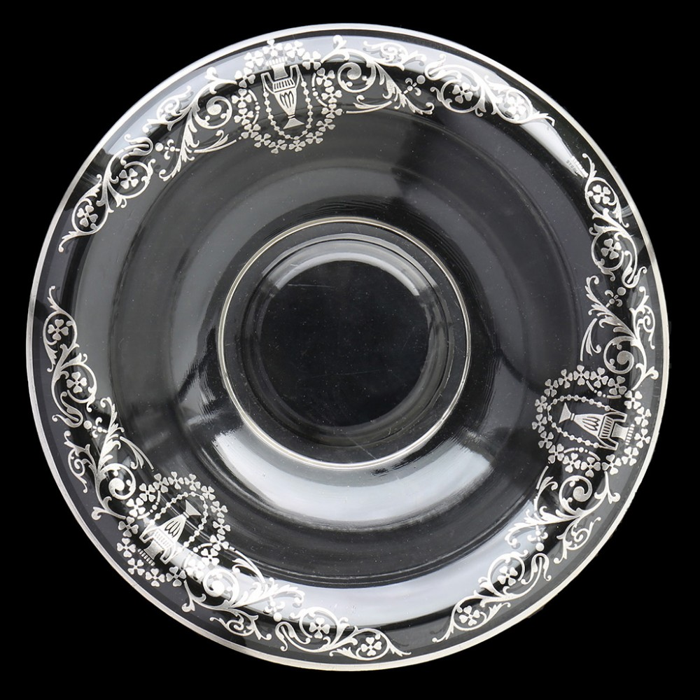 c1920s glass bowl with sterling silver overlay