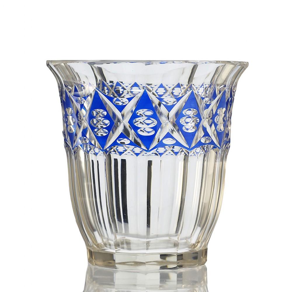 c1920s bohemian blue enamelled vienna cut glass vase