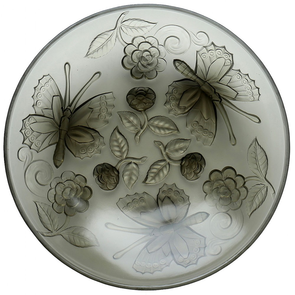 c1930s french choisyleroi art deco frosted glass butterflies bowl charger