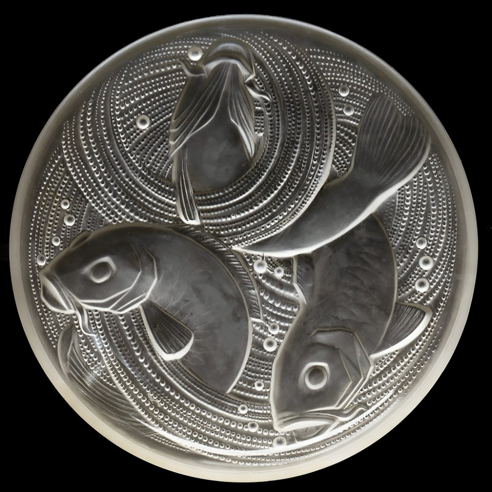 c1930s pierre d'avesn french art deco frosted glass fish charger signed