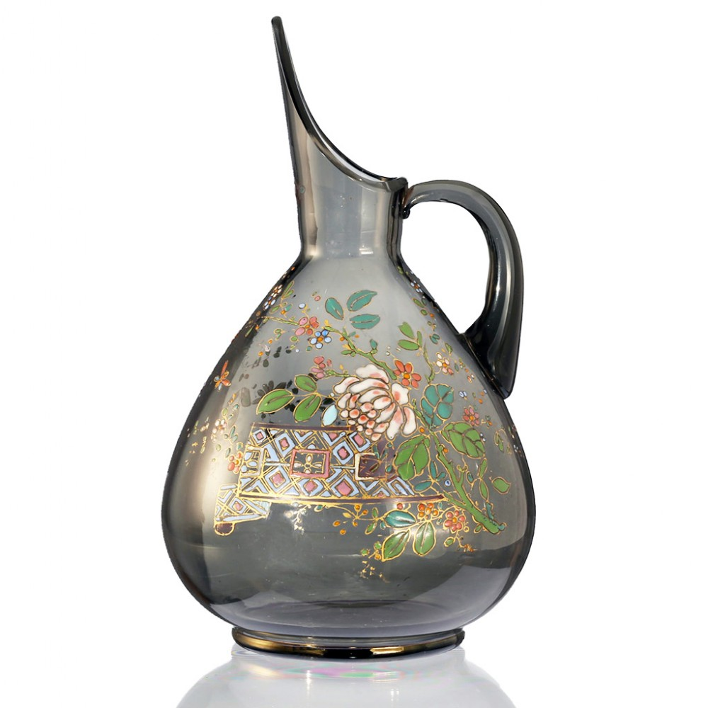 c1900 aesthetic movement enamelled glass jug pitcher possibly theresienthal