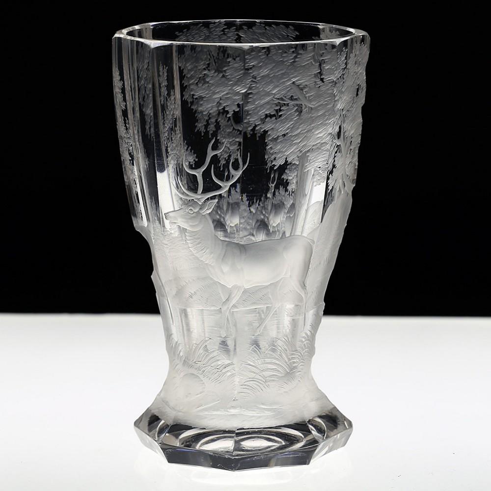 c1900 bohemian stag forest engraved glass goblet beaker