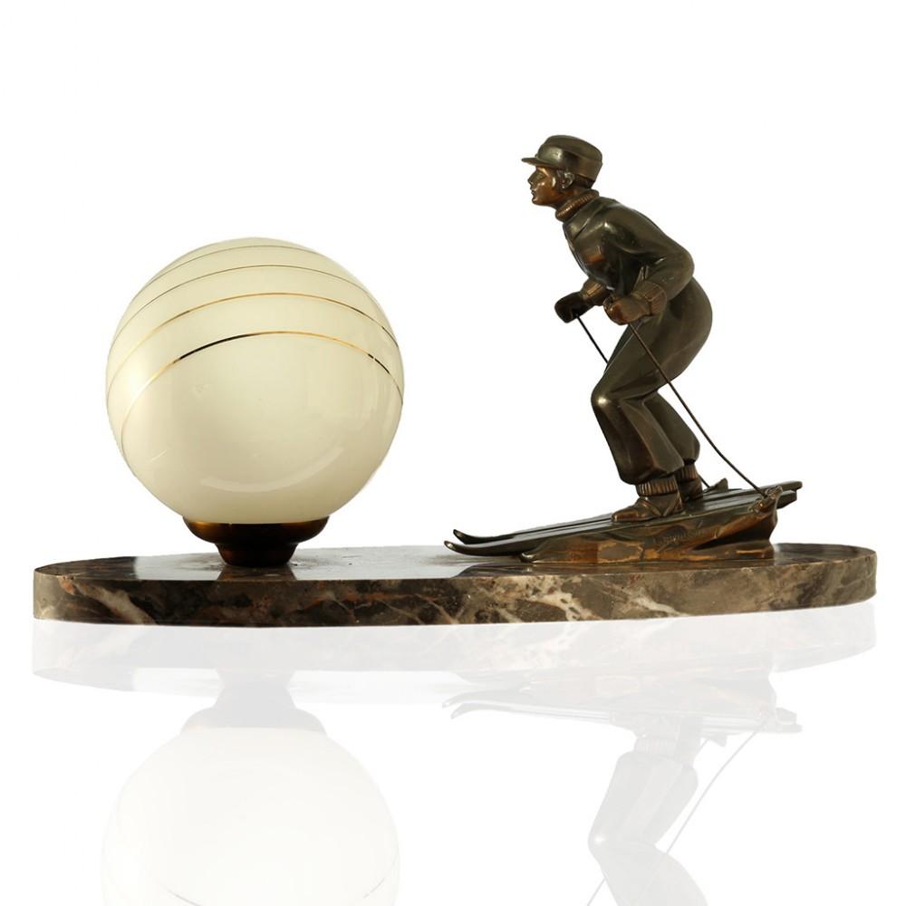 c1930s l brunswick art deco skier table lamp