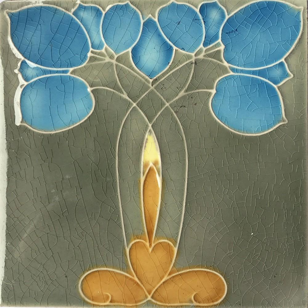 c1910 minton hollins art nouveau plant tile