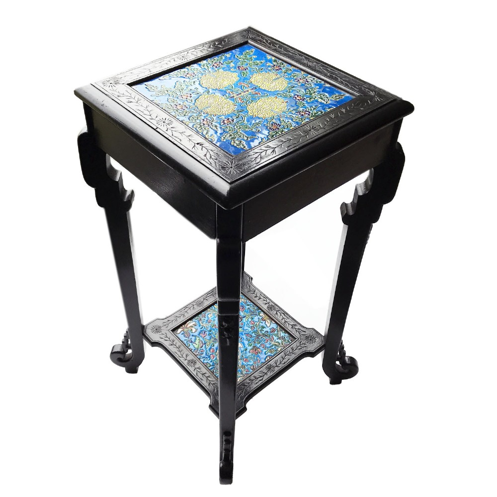 c1900 aesthetic movement chinoiserie ebonised stand with longwy france tiles