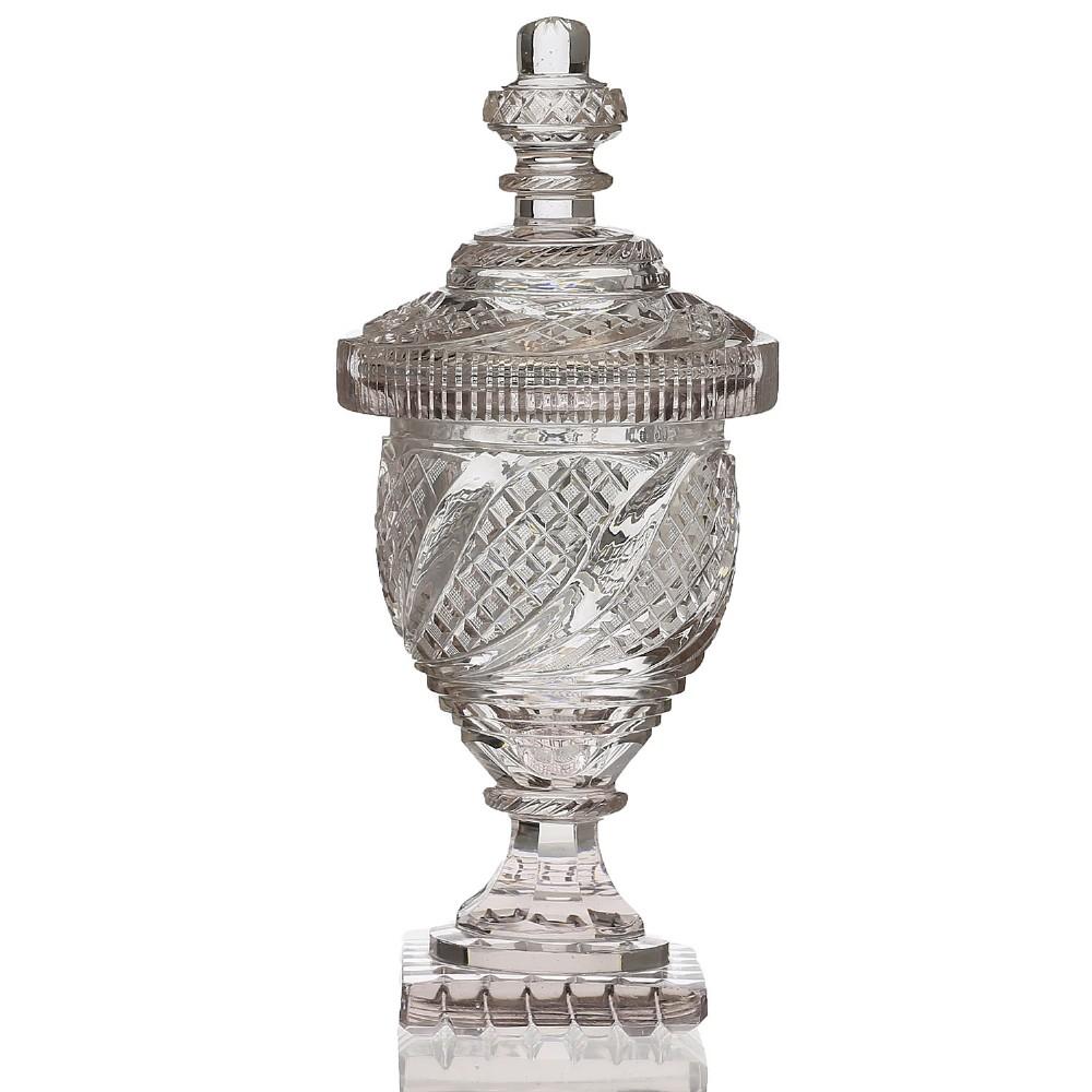 early 19th century irish cut crystal urn cover