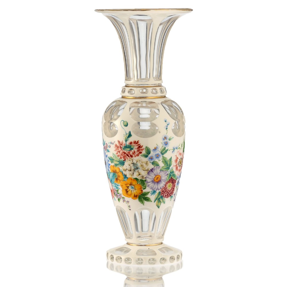 c1900 bohemian white overlay to clear glass floral decorated vase