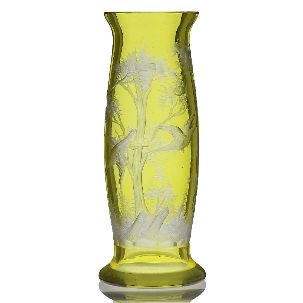 c1910 bohemian flashed citrine glass vase engraved with pheasants trees