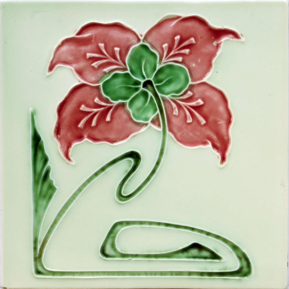 c1910 georg schmider art nouveau floral tile