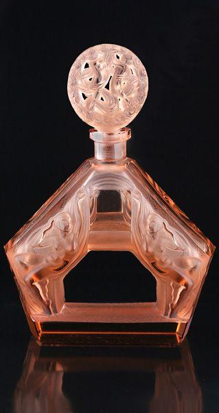 rare c1930s heinrich hoffmann art deco pink glass figural scent perfume bottle
