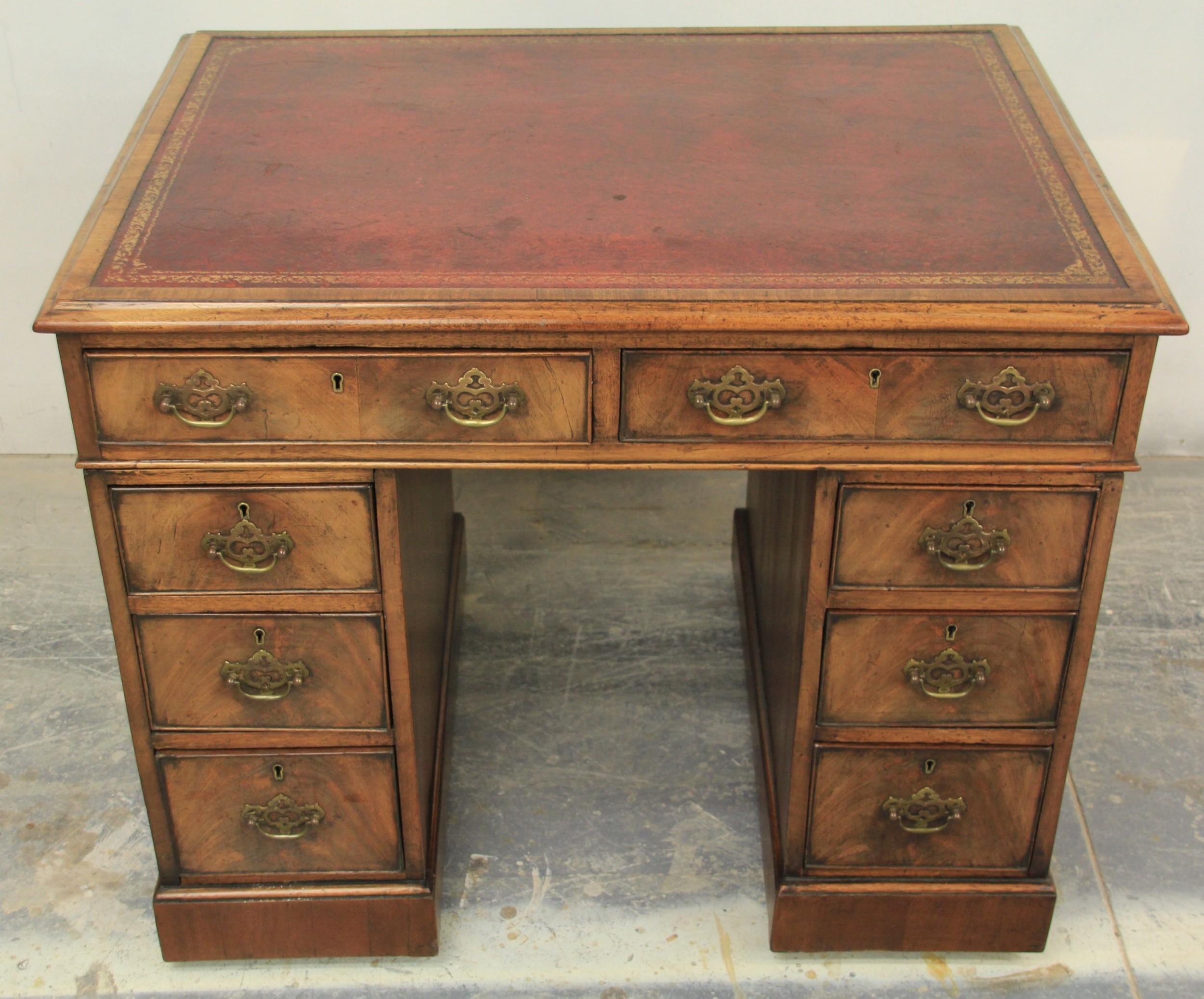 18th century mahogany pedestal writing desk
