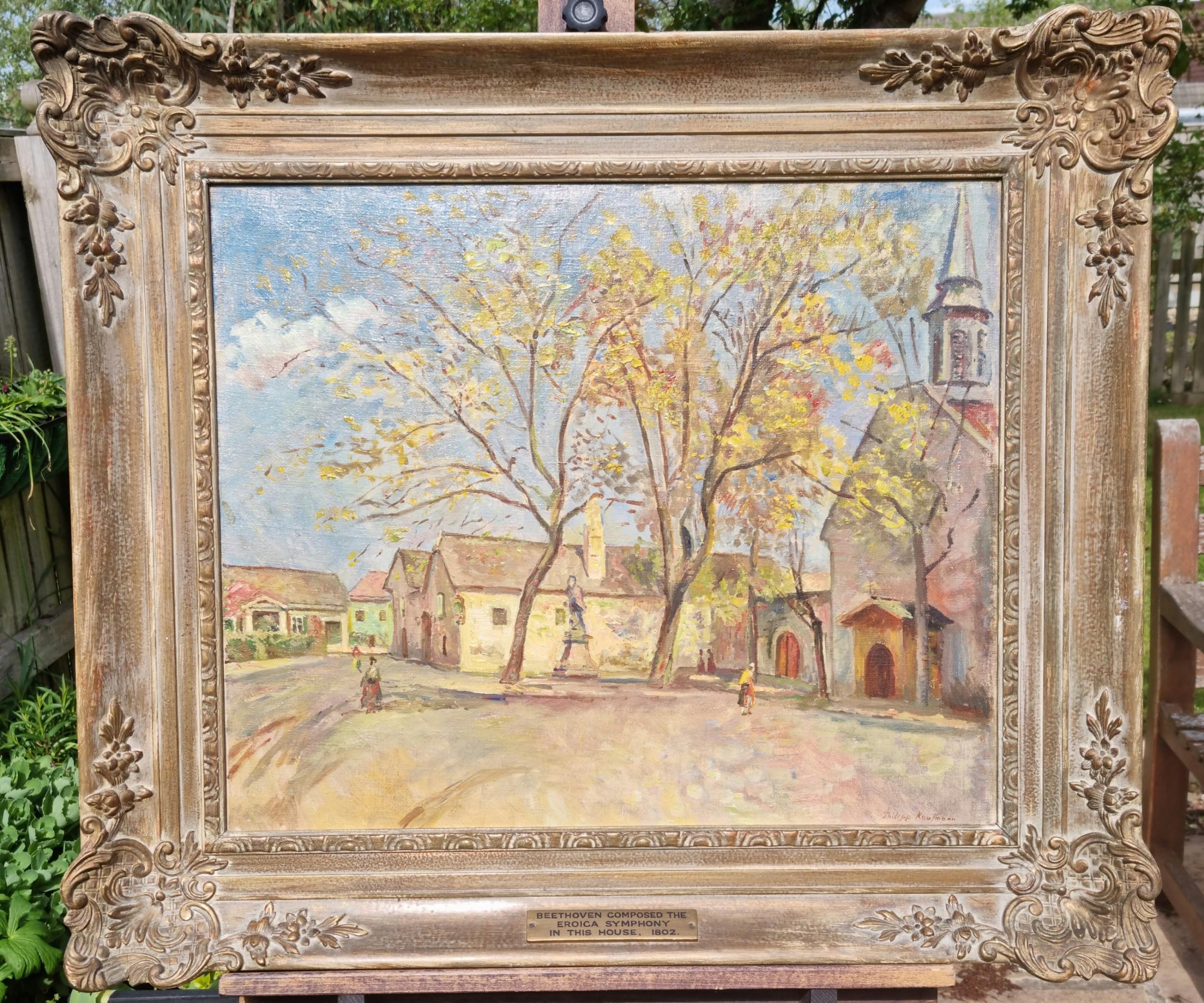 a carved framed oil on canvas