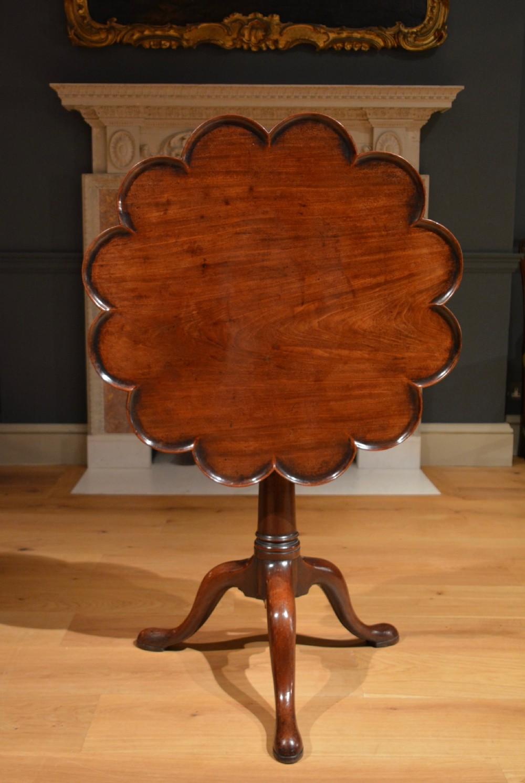 18th century mahogany lobed top tripod table