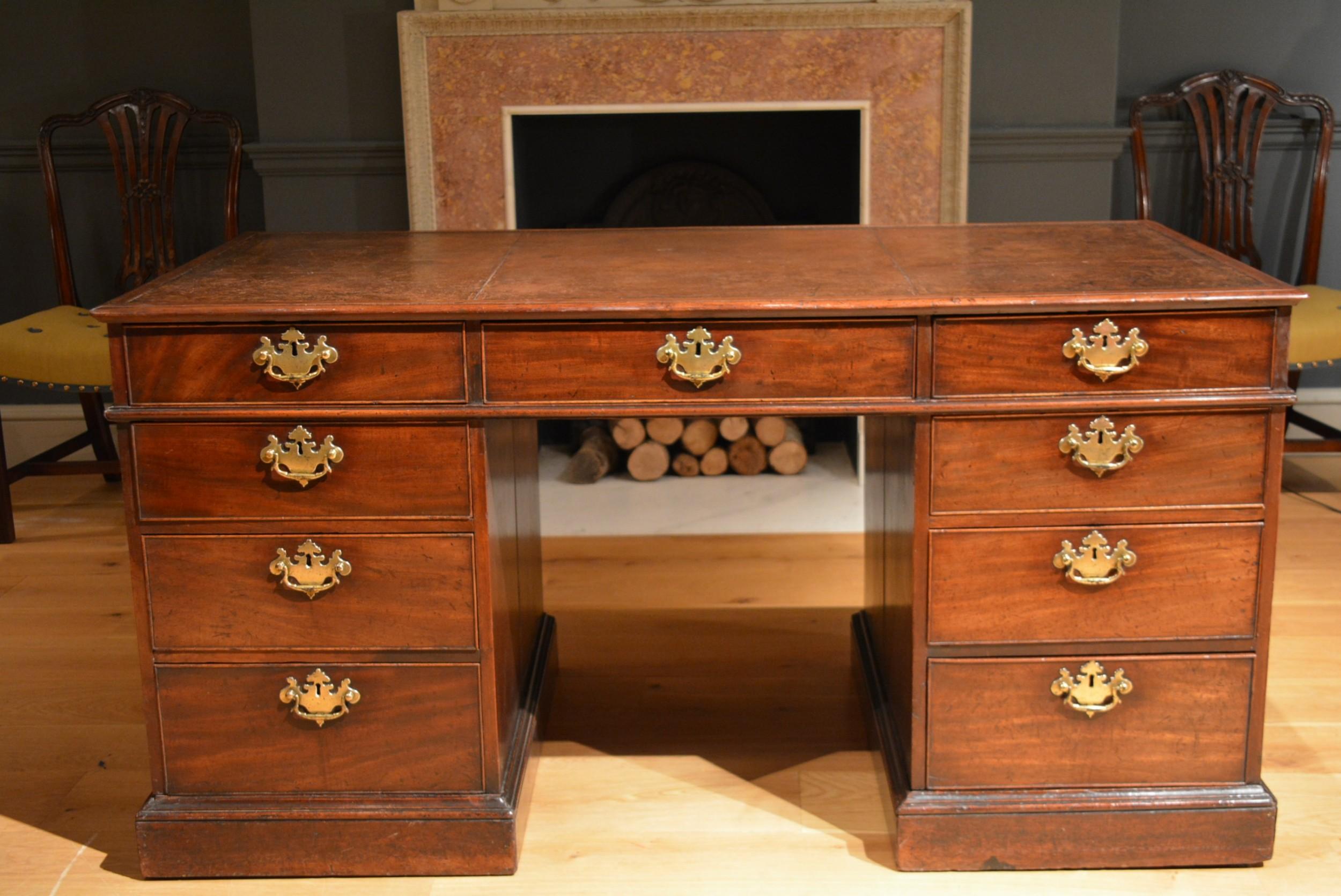 18th century mahogany freestanding partners desk