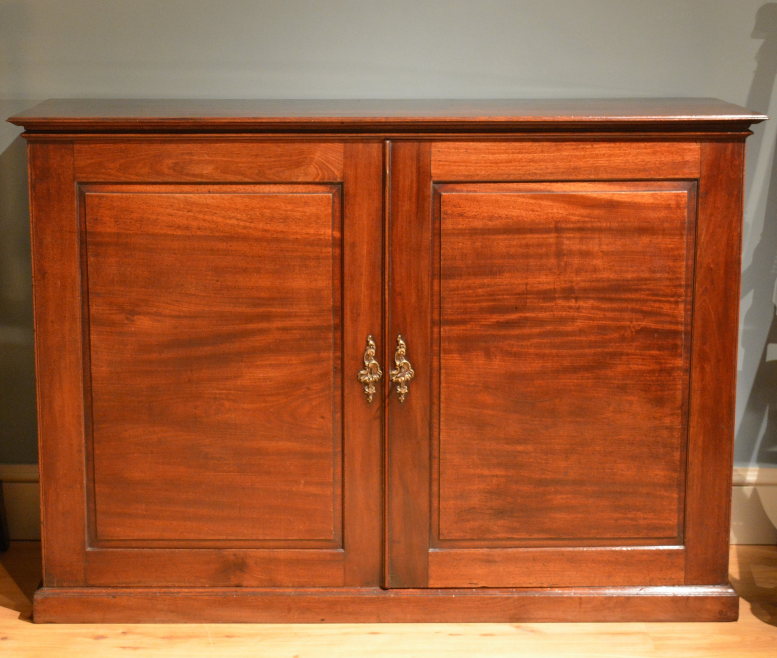 18th century mahogany low two door side cabinet
