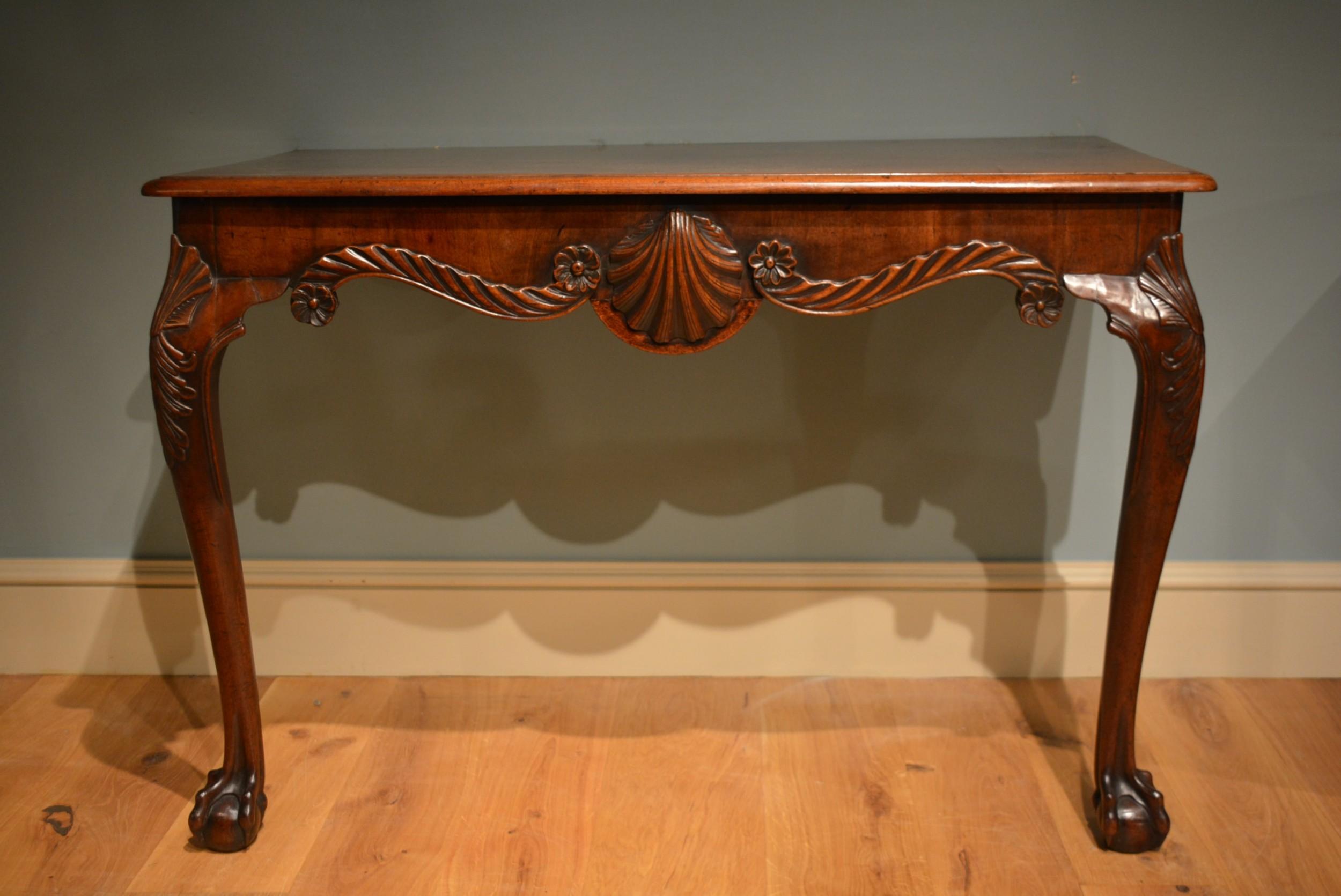 18th century pair of irish carved mahogany cabriole leg console tables