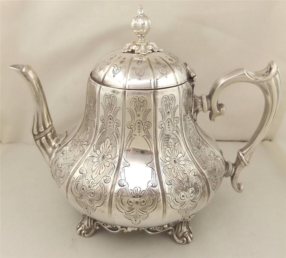 Antique Engraved Silver Plated Teapot 9 By Ashberry Sons C ...