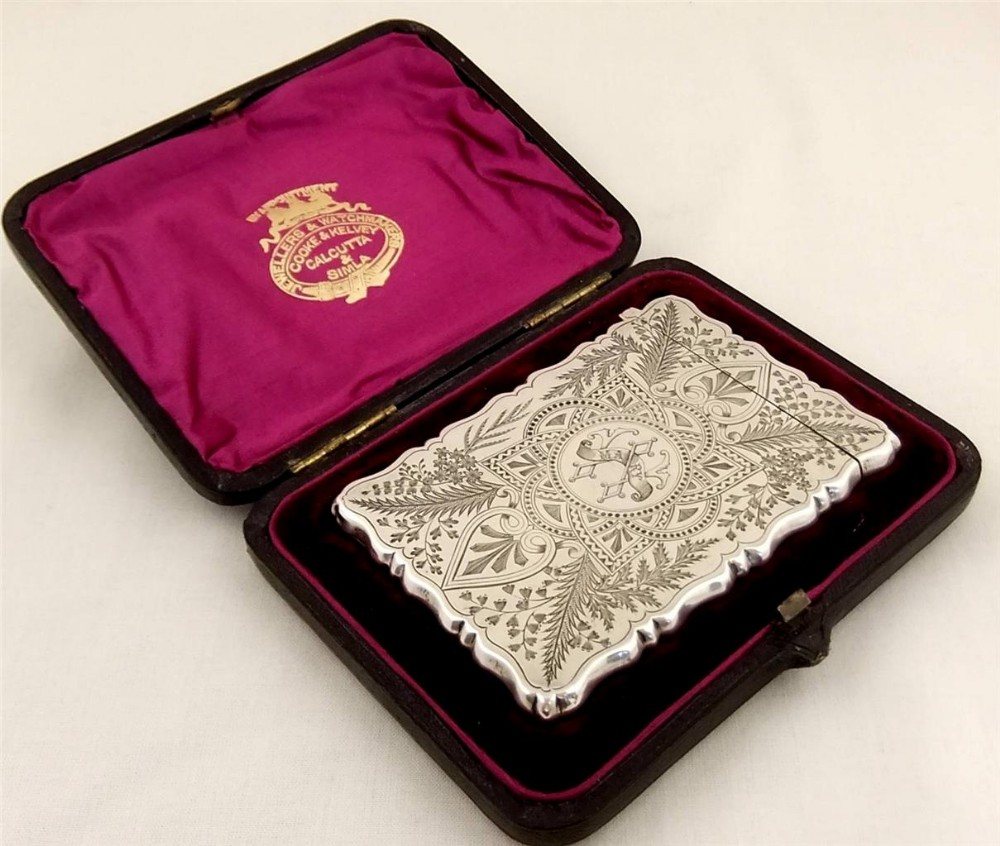 Superb Antique Silver Calling Card Case In Original Box By George ...