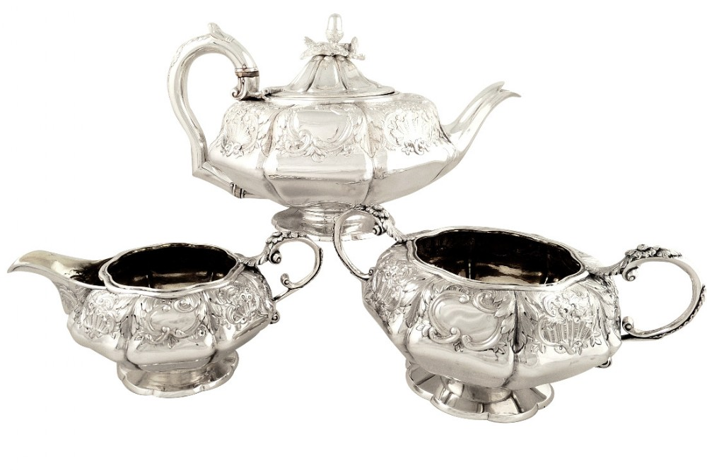 antique georgian sterling silver 3 piece teaset 1827 william bateman ii