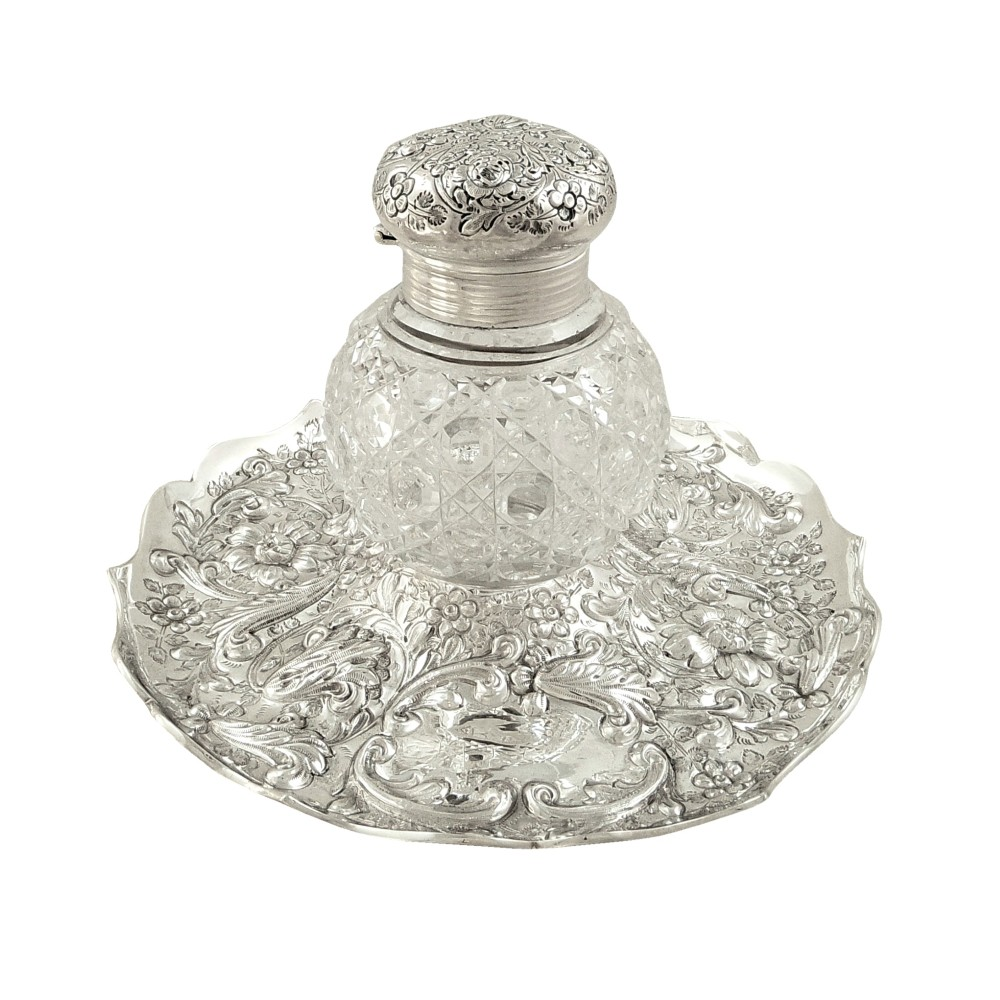 antique victorian sterling silver cut glass inkwell on stand 1889