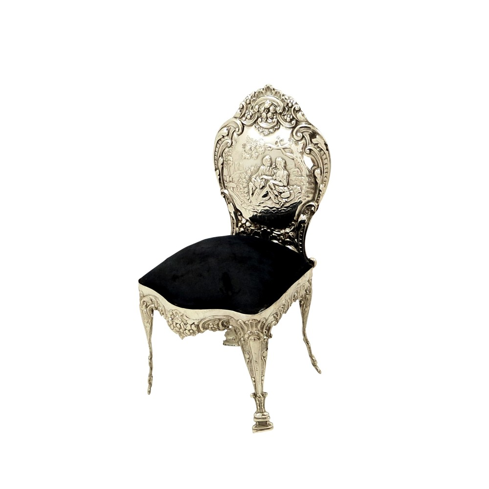 large antique edwardian sterling silver chair pin cushion with lovers scene 1902