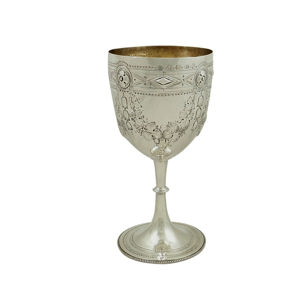 antique victorian sterling silver wine goblet 1873