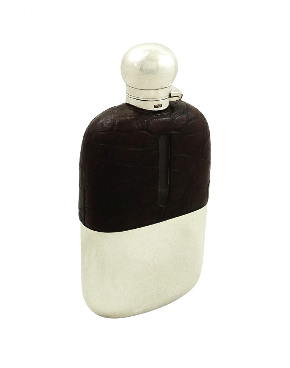 antique crocodile leather silver plated hip flask c1900