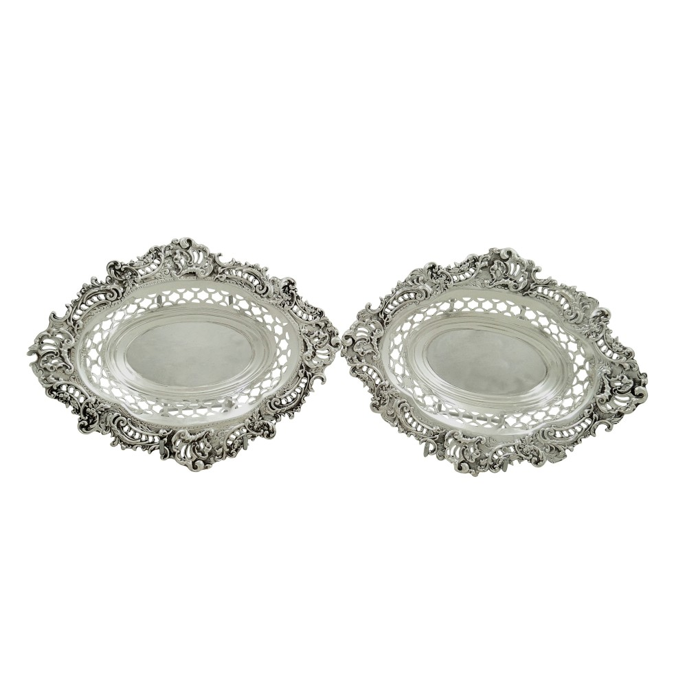 pair of antique victorian sterling silver 8 dishes 1896