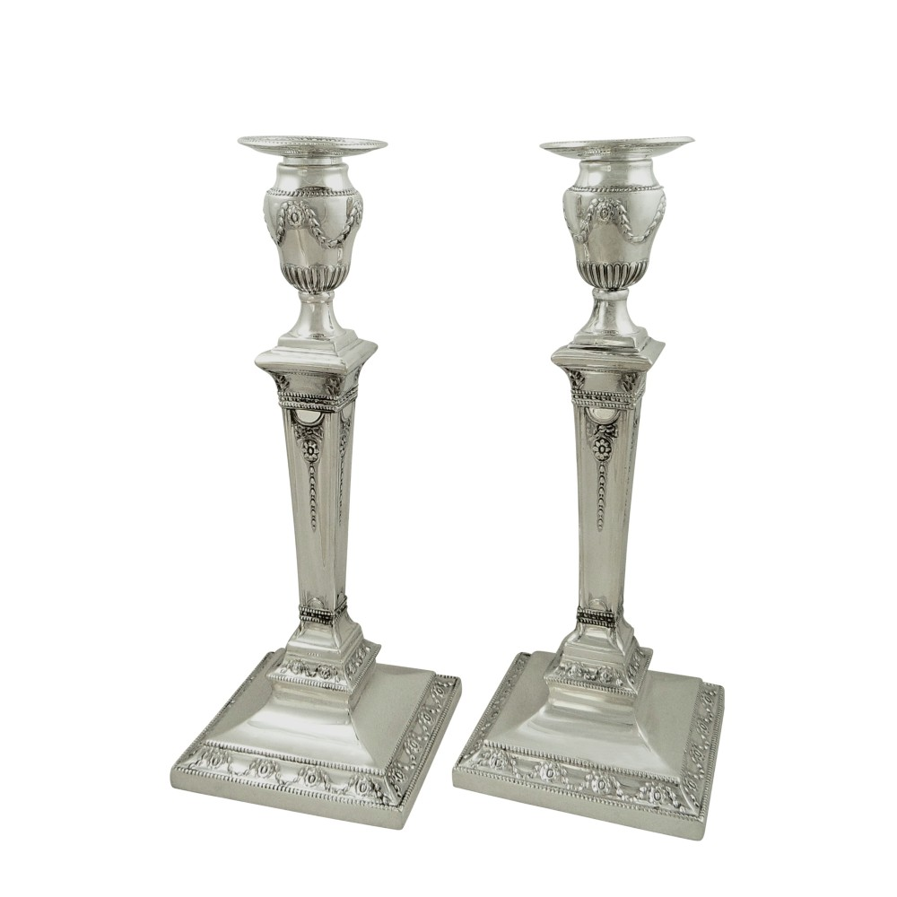 pair of antique victorian sterling silver 11 candlesticks 1876