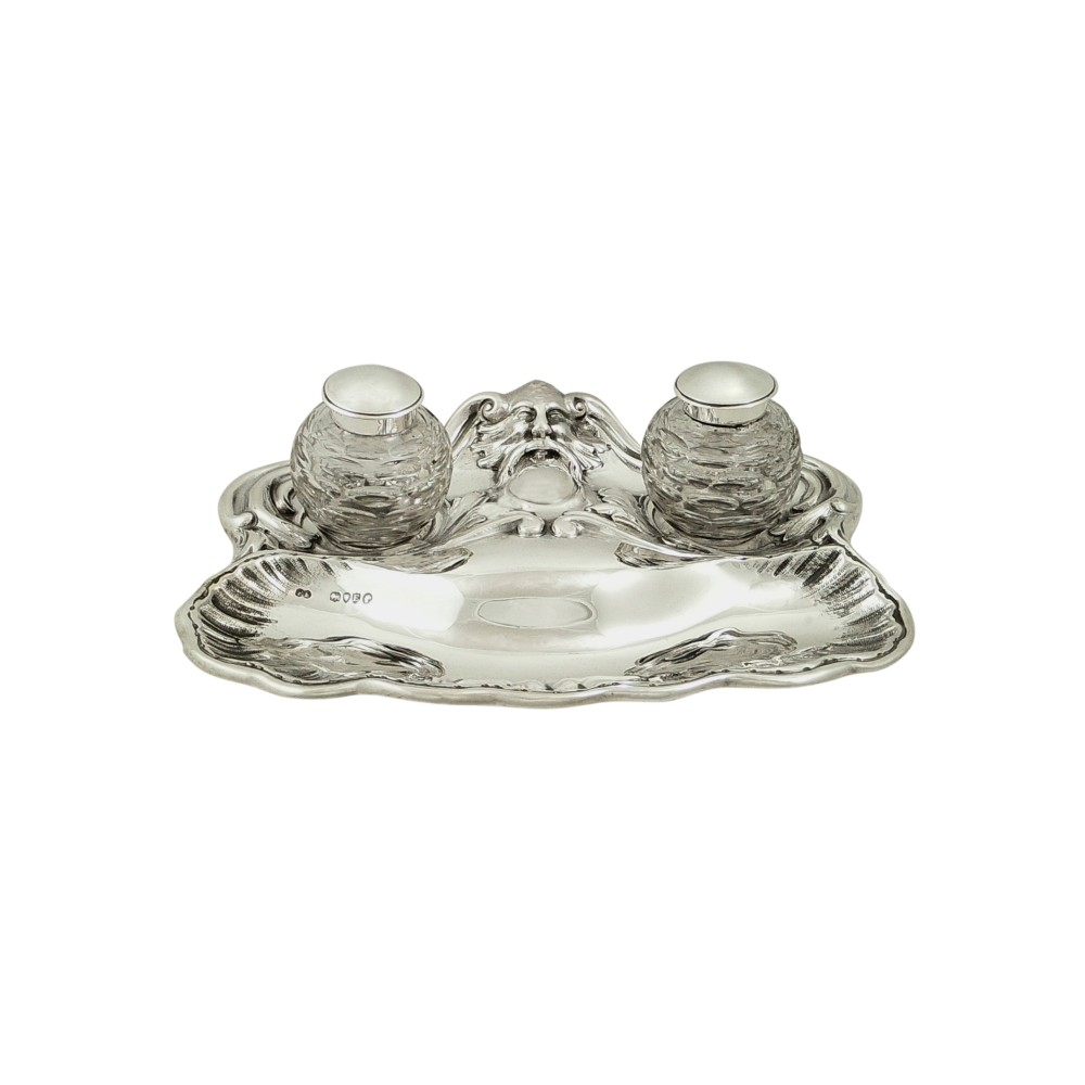 antique victorian sterling silver double inkstand 1880