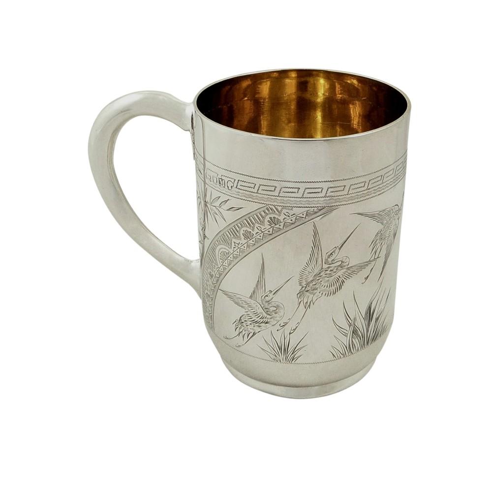 antique victorian sterling silver 'bird' christening mug tankard 1887
