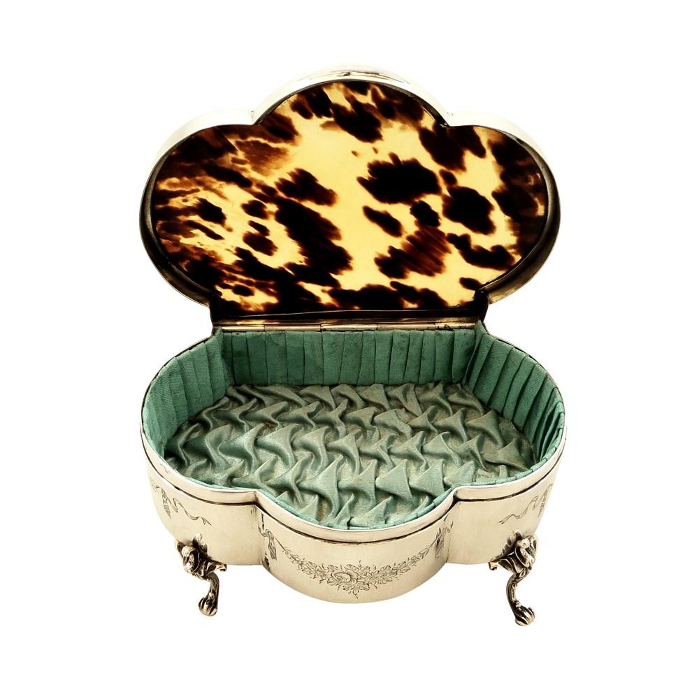 antique edwardian sterling silver tortoiseshell trinket box 1906