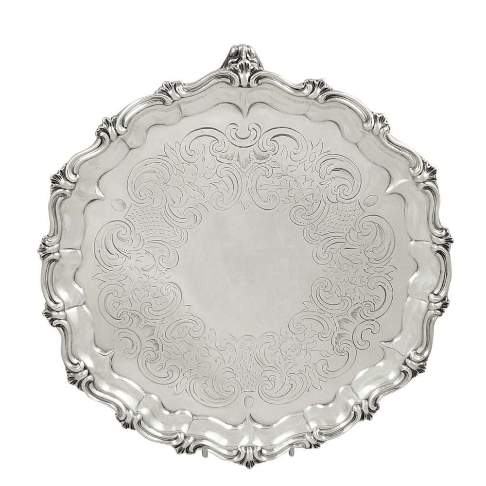 antique early victorian sterling silver tray salver 1846