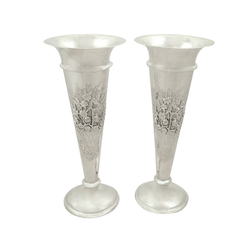 pair of antique edwardian sterling silver 7 vases 1908