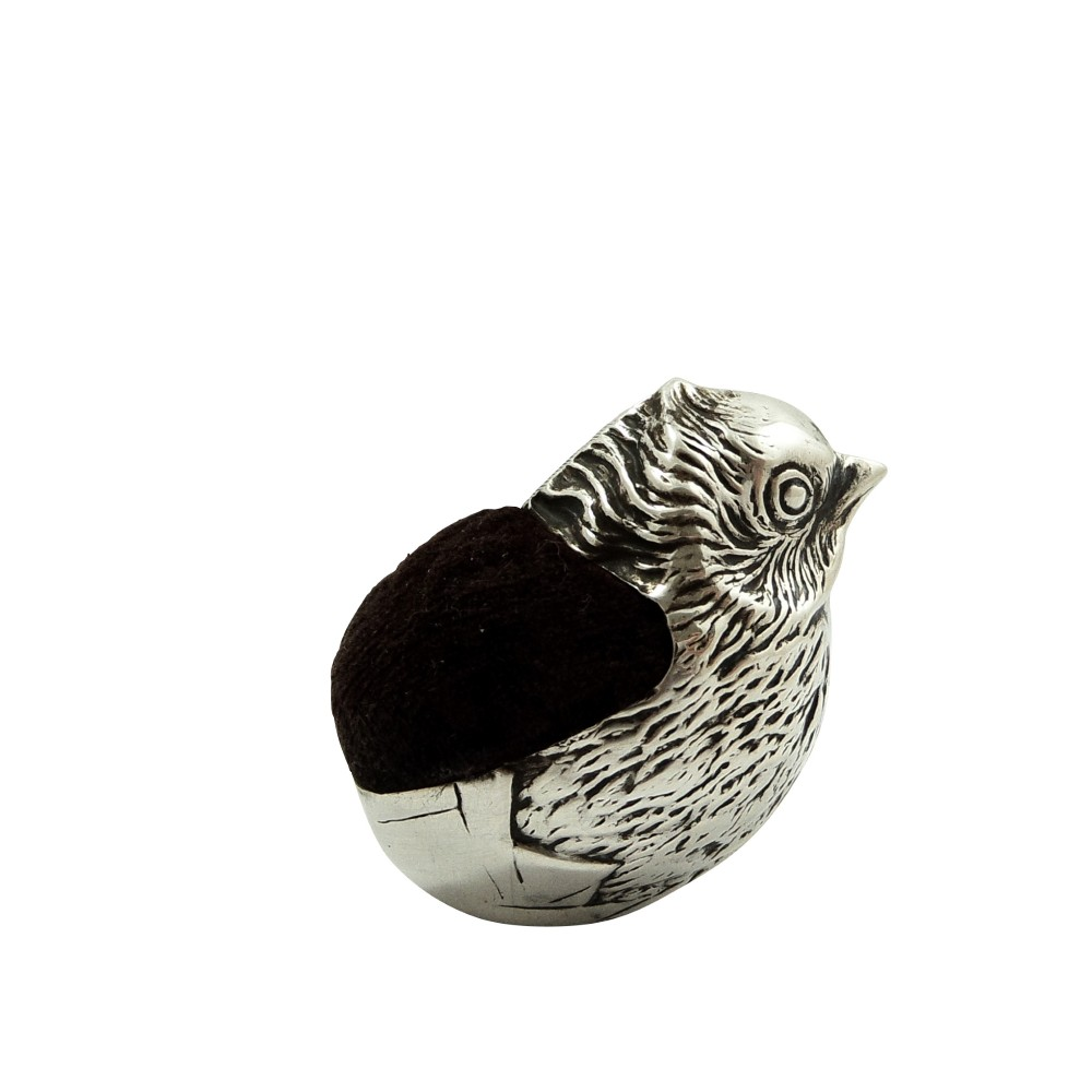 antique edwardian sterling silver chick bird pin cushion 1908